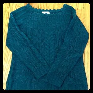 Loose cable knit deep teal scoop neck sweater